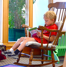 reading and rocking in the kids' corner